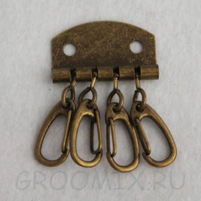 Ключница на 4 ключа, цвет бронза состаренная